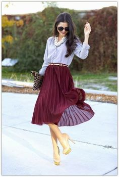The Pleated Skirt: if you have a dress with attached shirt, wear a chambray shirt over it to add layers