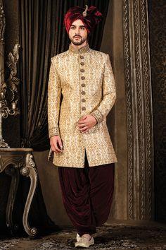 Buy Samyakk Beige Silk Embroidered Indo western Sherwani online in India at best price.Buy IndoWestern Sherwani Off White & Gold Zari Work Online Sherwani For Men Wedding, Mens Sherwani, Wedding Dress Men, Sherwani Groom, Indian Men Fashion, India Fashion, Muslim Fashion, Bollywood Fashion, Fashion Men