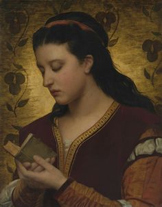 Lady reading a book.1876. Oil on panel. 53.3 x 42.5 cm.  Art by Attilio Baccani. 19th century.