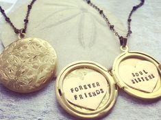 Custom locket necklace, Personalized jewelry, Soul Sister, Forever Friends, Gift for BFF by Sora Designs