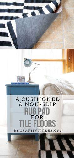 Choosing a Rug Pad for Tile Floors by @CraftivityD // Sunroom, Family Room, Black & White Rug