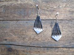 // metal and leather earrings