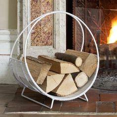Stylish log storage for your fireplace.