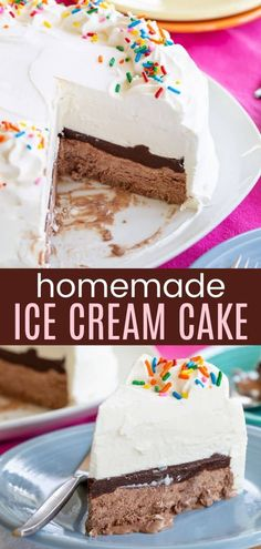 Easy Ice Cream Cake - kids of all ages love this classic frozen dessert with layers of no-churn homemade vanilla and chocolate ice cream with rich fudge instead of crunchies to make it gluten free! No ice cream maker needed! Best Chocolate, Homemade Chocolate, Chocolate Recipes, Easy Homemade Ice Cream, Homemade Vanilla, Cupcake Recipes, Dessert Recipes, Easy Gluten Free Desserts, Vegetarian Chocolate