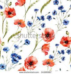 poppy, cornflower, watercolor, pattern