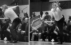 Good ol' Bobby Knight and his chair throwing episode.  (Pinning this only for the fact that he is a despicable piece of flesh and throwing the chair while Steve Reid attempted (and MADE) technical fouls AND free throws, just prooves what an ass he was, is, and will always be - BOILER UP!!)