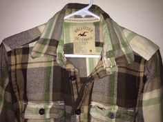 Hollister Mens Plaid Flannel Shirt Jacket Size Medium Excellent Condition #Hollister #ButtonFront