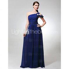 [USD $ 89.69] Sheath/Column One Shoulder Floor-length Chiffon Bridesmaid Dress