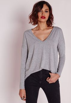 Missguided - Long Sleeve Boyfriend V-Neck T-shirt Grey Marl
