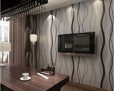 2016 new hot wave stripe high quality wallpaper roll luxcury European style European Fashion, European Style, High Quality Wallpapers, Wallpaper Roll, Kitchen Appliances, Curtains, Wave, 3d, Decoration