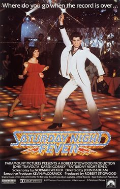 Saturday Night Fever (1977) USA Paramount Musical drama. D: John Badham. Nineteen-year-old Brooklyn native Tony Manero lives for Saturday nights at the local disco, where he's king of the club, thanks to his stylish moves on the dance floor. But outside of the club, things don't look so rosy. However, things begin to change when he spies Stephanie in the disco and starts training with her for the club's dance competition. John Travolta. 25/10/14