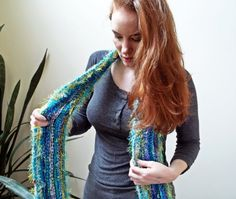 Handknit Art Scarf  Blue and Green Scarf with by ZyloHandmade
