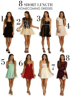 8 Short Length Homecoming Dresses #homecoming #dresses #short #cute #formal #party #wedding #outfit #look