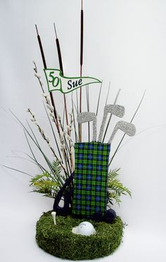 centerpieces with golf balls | Tartan Plaid Woman Golf & Golf Bag Centerpieces & matching invite ...