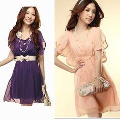 Zanzea® Chiffon Pleated Ruffle Sleeve Dress