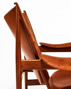 Finn Juhl, an early Chieftain armchair, 1949 by Niels Vodder, cabinetmaker, Copenhagen, Denmark.