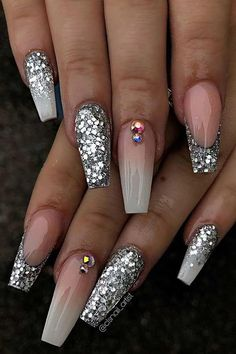 23 nail designs and ideas for coffin acrylic nails - StayGlam Beauty - . - 23 nail designs and ideas for coffin acrylic nails – StayGlam Beauty – - Glam Nails, Bling Nails, Glitter Nails, Silver Glitter, 3d Nails, Coffin Ombre Nails, Bling Nail Art, Gradient Nails, Silver Nails