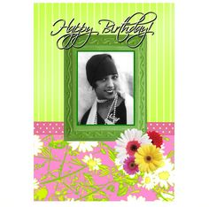 Happy birthday card, birthday woman, black woman, Josephine Baker, black greeting cards, black people cards, African-American, black actress, birthday greetings. The Afro Card Company