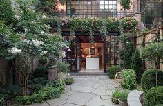 in West Village, Manhattan New York Townhouse, Townhouse Garden, Townhouse Interior, Greenwich Village, West Village, Office Nyc, Home Office, Manhattan, Home Nyc