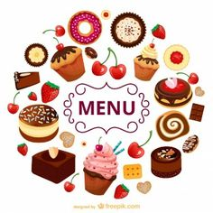 Modelo de menu doces vetor