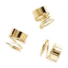 Chronicle gold ring ($6) ❤ liked on Polyvore featuring jewelry, rings, accessories, anillos, bijoux, spiral ring, yellow gold rings, stackers jewelry, stackable rings and gold stackable rings