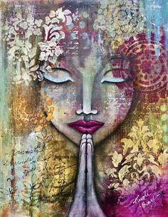 Zen Art Inspiration Journal Pages 44 Super Ideas Art Buddha, Buddha Kunst, Mixed Media Faces, Mixed Media Art, Mix Media, Art Journal Inspiration, Art Inspo, Arte Pallet, Art Zen