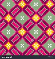 Abstract vector seamless Mochilla pattern with bright tribal ornament Beading Patterns, Embroidery Patterns, Hand Embroidery, Cross Stitch Patterns, Knitting Charts, Knitting Stitches, Cross Stitch Cushion, Tapestry Crochet Patterns, Crochet Purses