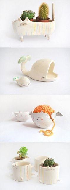 Quirky Ceramics by Barruntando - Ceramic Art, Ceramic Pottery Diy Clay, Clay Crafts, Diy And Crafts, Ceramics Projects, Clay Projects, Ceramic Clay, Ceramic Pottery, Ceramic Planters, Ceramic Decor