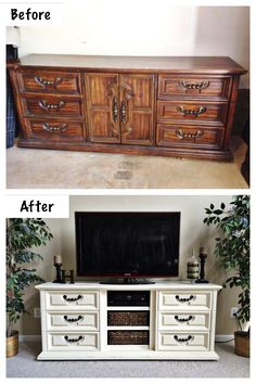 "Dresser to Entertainment Center. Extra long dresser (approx. 75"") repurposed into an entertainment center. Drawers provide ample storage for DVD's & Video Games. Doors were removed and shelves were built to house components and baskets for easy storage. Painted with ASCP in Old White with light distressing and clear wax. Work & Photo credit: @lah5807"
