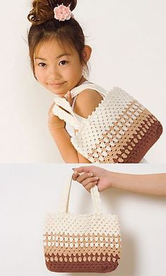 Striped Bag pattern by Pierrot (Gosyo Co., Ltd) Free crochet handbag pattern. Crochet Gratis, Crochet Tote, Crochet Handbags, Crochet Purses, Diy Crochet, Ravelry Crochet, Free Crochet Bag, Crochet Baskets, Crochet Symbols