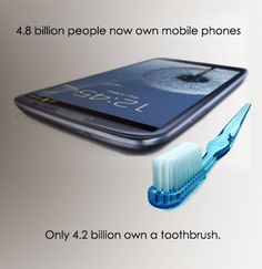 Can you believe that 4.8 billion people now own mobile phones, but only 4.2 billion own a toothbrush?