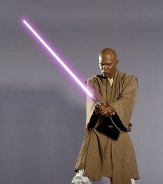 Samuel L Jackson as Mace Windu in Star Wars VI: Revenge of the Sith (2005).
