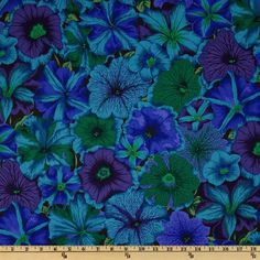 Kaffe Fassett Collective 2012 Petunias Blue from @fabricdotcom  Kaffe Fassett is known for his bold prints and great sense of color. This vibrant cotton print fabric is perfect for quilting, apparel, crafts and home décor accents. Colors include royal, turquoise, kelly green and leaf on a black background.