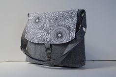 Messenger Bag in Yarn Dyed Linen in Black with Black by bluecalla, $64.00