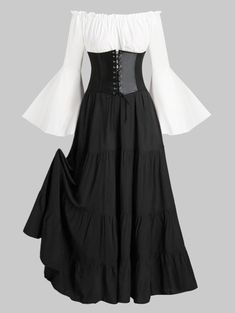 Lace-up Corset Belt Vintage Renaissance Medieval Bell Sleeve Dress , Source by dresses Trendy Clothes For Women, Casual Dresses For Women, Trendy Outfits, Dress Casual, Office Outfits Women Casual, Dress Clothes For Women, Classy Dress, Cheap Clothes, Kids Outfits