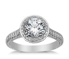Micro Pave Halo Engagement Ring Settings