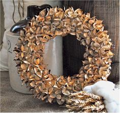 Cotton Bur Wreath -via CottonMan.com // this is gorgeous! It can be displayed year round! Grown & Made in North Carolina. check out this site...