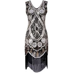 Sequins Fringe Vintage Party Dress (1.625 RUB) ❤ liked on Polyvore featuring dresses, gamiss, fringe cocktail dresses, vintage fringe dress, vintage cocktail dresses, sequin fringe dress and sequin embellished dress