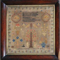 Bonhams 1793 : A 19th century Adam and Eve sampler