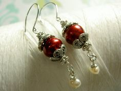 Ghostly Victorian  red pearl earrings / red dangle by GhostShip