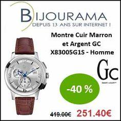 #missbonreduction; 40 % de réduction sur la Montre Cuir Marron et Argent GC X83005G1S - Homme chez Bijourama.http://www.miss-bon-reduction.fr//details-bon-reduction-Bijourama-i851979-c1832847.html