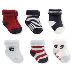 Just One You™Made by Carter's® Baby Boys' 6 Pack Stripe/Sports Terry Cuff Socks…