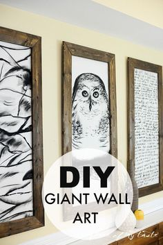 DO IT YOURSELF! DIY-ed giant frames with black and white drawings...Looks so cool!