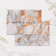 White Marble & Copper Business Card. Business stationary in rose gold and marble. Create your own business card! Add your business name, profession, and contact details. Available on Zazzle.com in the Fox & Eagle store. Modern chic classic glam design.