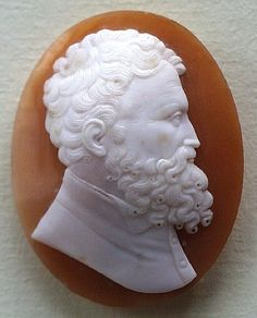 The Michelangelo Cameo    Size: 1 - 5/8 by 1 - 1/4 inches  Material: Shell, unframed  Date : ca 1820  Origin: Italy     Condition: Mint. The cameo has never been framed and seldom handled. There are no surface flaws and no wearing to high points of the carving. It is in rare condition for a cameo of its age.