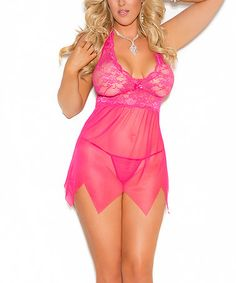 Look what I found on #zulily! Raspberry Lace Handkerchief Babydoll & G-String - Women & Plus #zulilyfinds