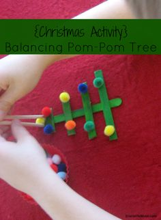 {Christmas Activity} Balancing Pom-Pom Tree