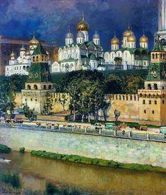 Apollinary Vasnetsov (1856-1933). The Moscow Kremlin. Cathedrals. 1894