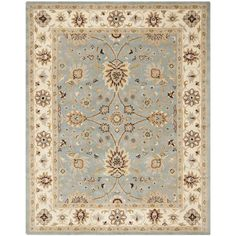 Safavieh Handmade Kerman Light Blue/ Ivory Gold Wool Rug (7'6 x 9'6) - Overstock™ Shopping - Great Deals on Safavieh 7x9 - 10x14 Rugs