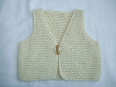 Organic Cotton  Hand Knitted Baby Gilet by StitchesSouthside on Etsy